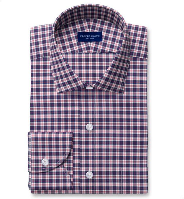 Thomas Mason Non-Iron Navy and Red Multi Check Men's Dress Shirt