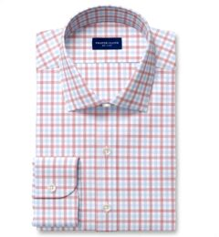 Cooper Red and Blue Check Stretch Twill Fitted Shirt