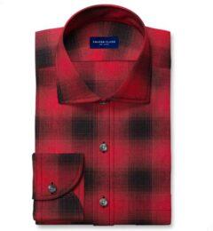 Scarlet Ombre Plaid Cotton Linen Blend Men's Dress Shirt