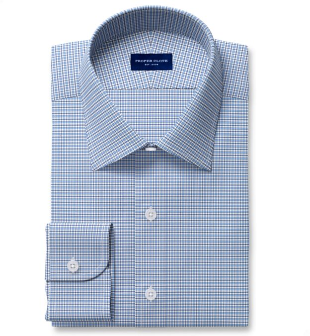 Performance Light Blue and Navy Small Check Fitted Dress Shirt
