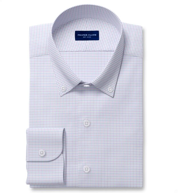 Thomas Mason Non-Iron Stretch Lavender Tattersall Men's Dress Shirt