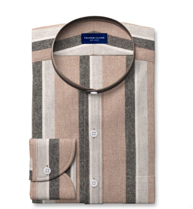 Canclini Camel Shadow Stripe Beacon Flannel Tailor Made Shirt
