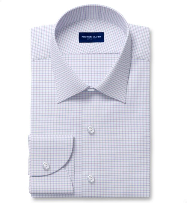 Thomas Mason Non-Iron Stretch Lavender Tattersall Custom Dress Shirt