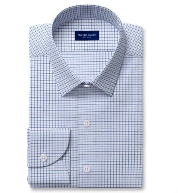 Thomas Mason Non-Iron Stretch Blue Tattersall Fitted Dress Shirt