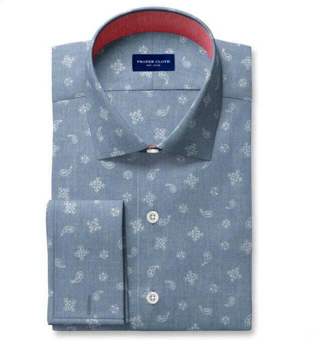 Light Blue Chambray Bandana Print Dress Shirt
