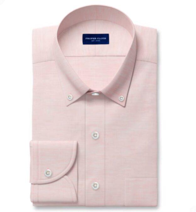 Portuguese Pink Cotton Linen Oxford Custom Dress Shirt