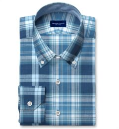 Slate and Blue Indian Madras Tailor Made Shirt