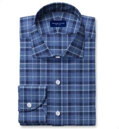 Tonal Blue Cotton and Linen Plaid Tailor Made Shirt