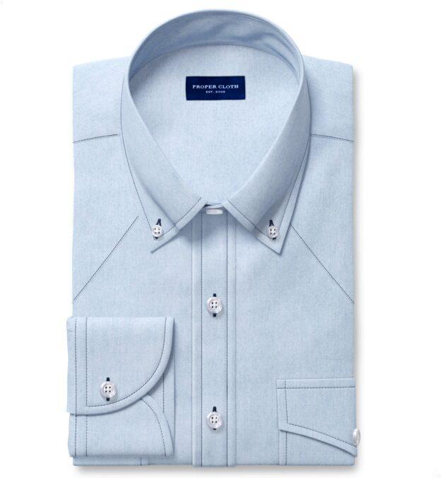 Albiate Washed Light Indigo Contrast Thread 80s Denim Custom Dress Shirt