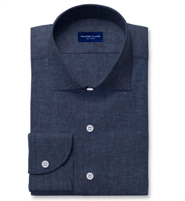 Albini Washed Navy Linen Twill Dress Shirt
