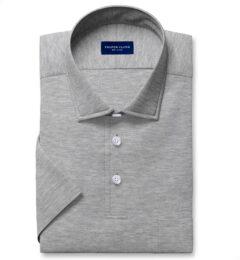 Canclini Melange Grey Knit Pique Short Sleeve Shirt
