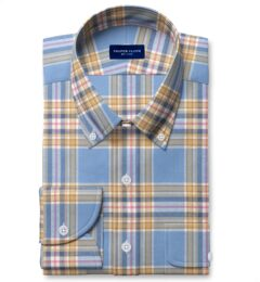 Japanese Cornflower and Gold Cotton and Linen Plaid Fitted Dress Shirt