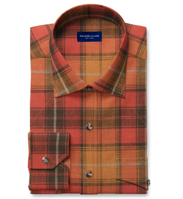 Japanese Washed Sunset Country Plaid Fitted Dress Shirt