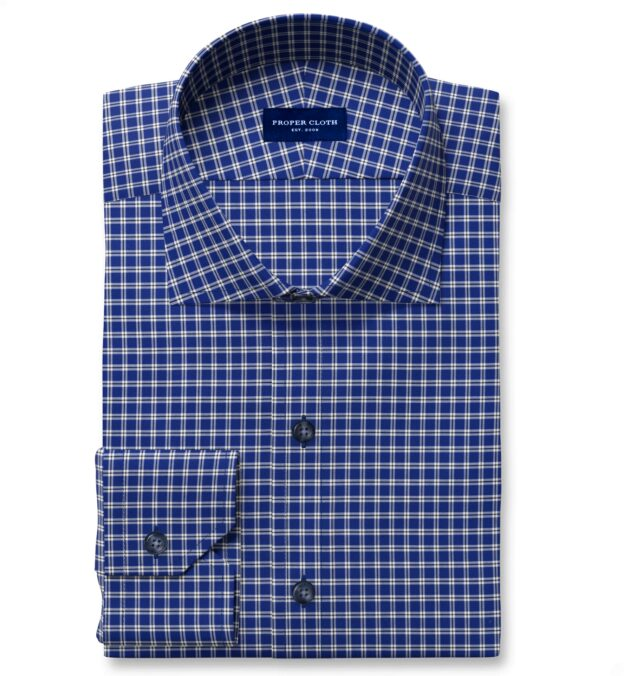 Thomas Mason Non-Iron Blue Small Check Fitted Dress Shirt