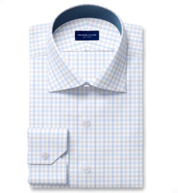 Cooper Light Grey and Blue Check Stretch Twill Dress Shirt