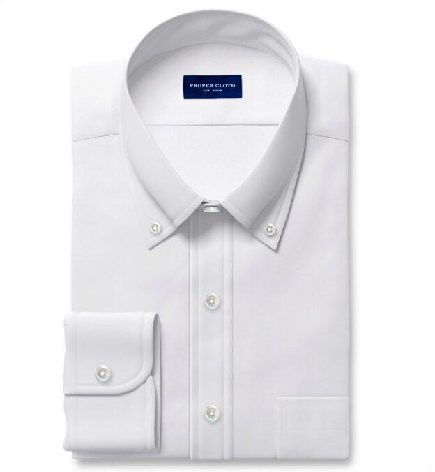 Thomas Mason White Comfort Oxford Fitted Shirt