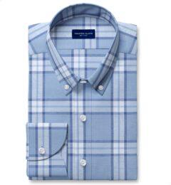 Faded Blue Cotton Tencel and Linen Blend Vintage Plaid Dress Shirt