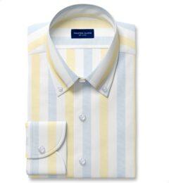 Portuguese Yellow and Light Blue Wide Stripe Cotton Linen Oxford Custom Dress Shirt