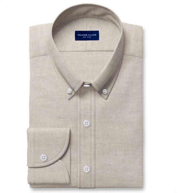 Tessuti di Sondrio Natural Dye Basketweave Linen Custom Dress Shirt