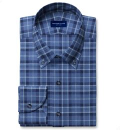 Tonal Blue Cotton and Linen Plaid Men's Dress Shirt