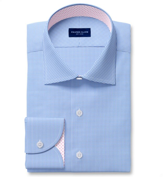 Performance Light Blue Small Gingham Fitted Dress Shirt