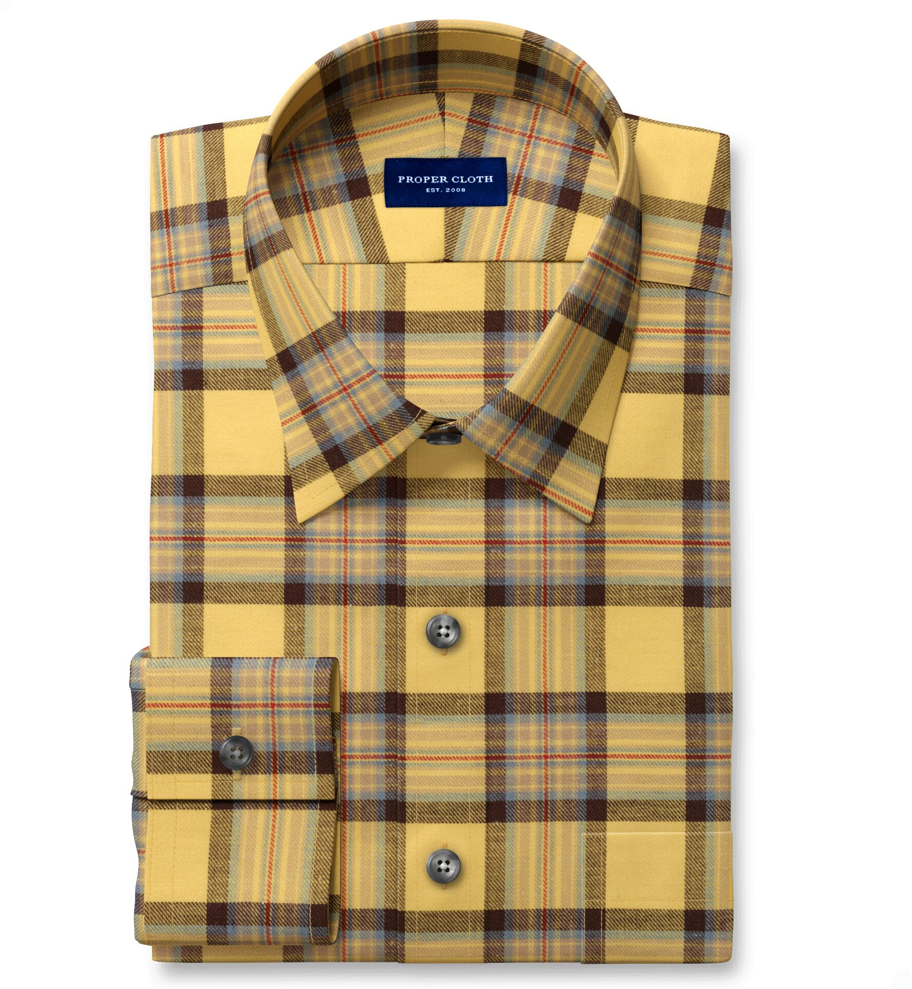 Japanese Yellow and Chocolate Cotton and Linen Plaid