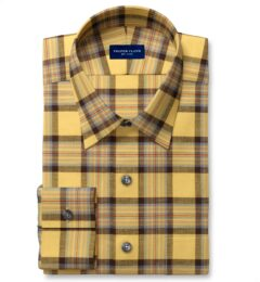 Japanese Yellow and Chocolate Cotton and Linen Plaid Tailor Made Shirt