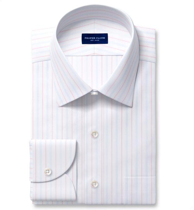 Varese 140s Light Blue and Coral Multi Stripe Custom Made Shirt