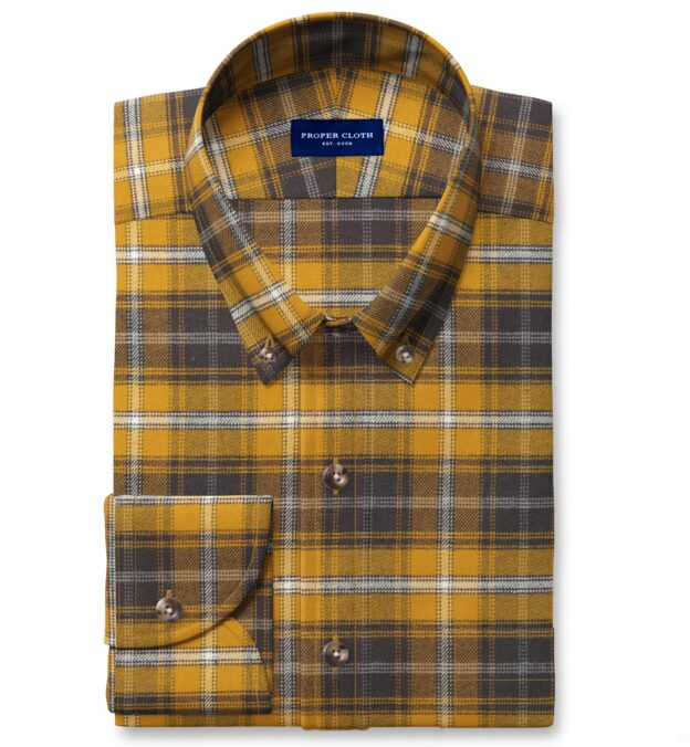 Gold and Charcoal Large Plaid Flannel Custom Made Shirt