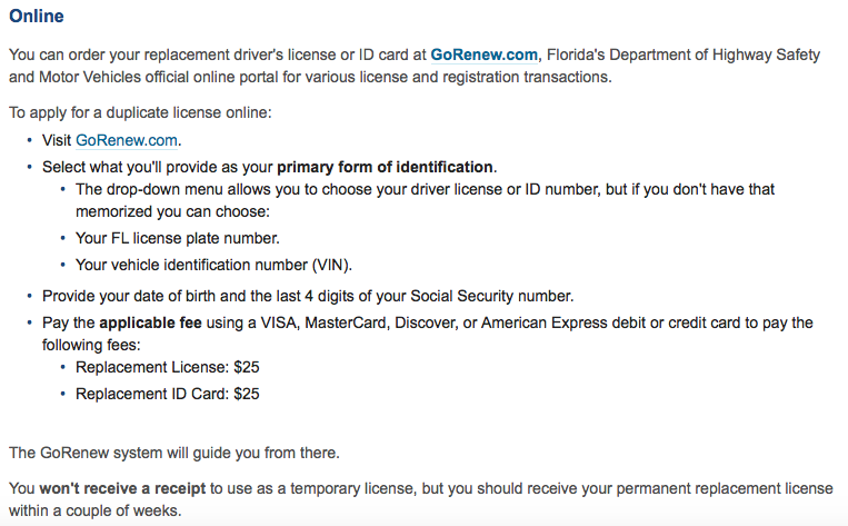 gorenew florida drivers license