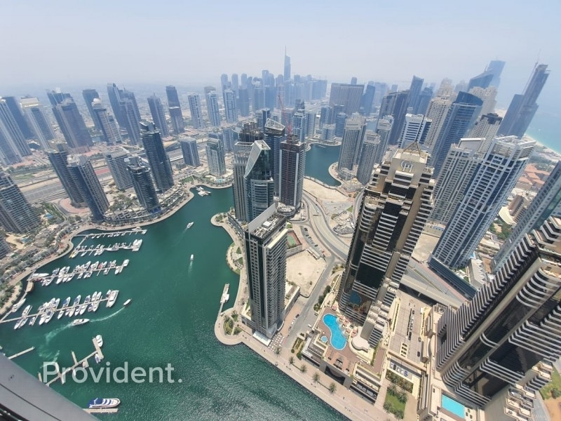 Rented|High Floor|Marina and Sea View|Maids Room