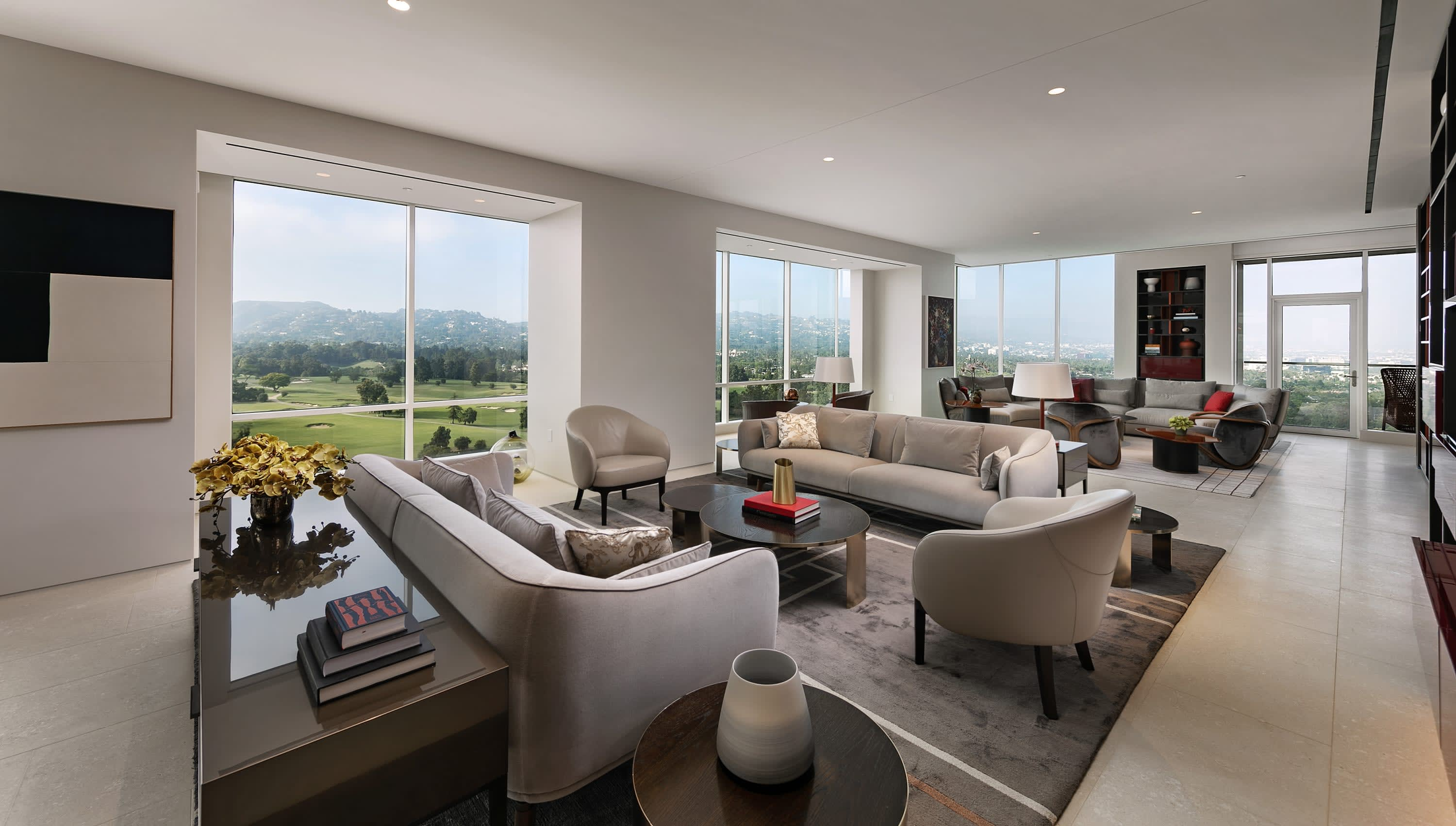 living rooms inside penthouse 19 at the beverly west in westwood, los angeles
