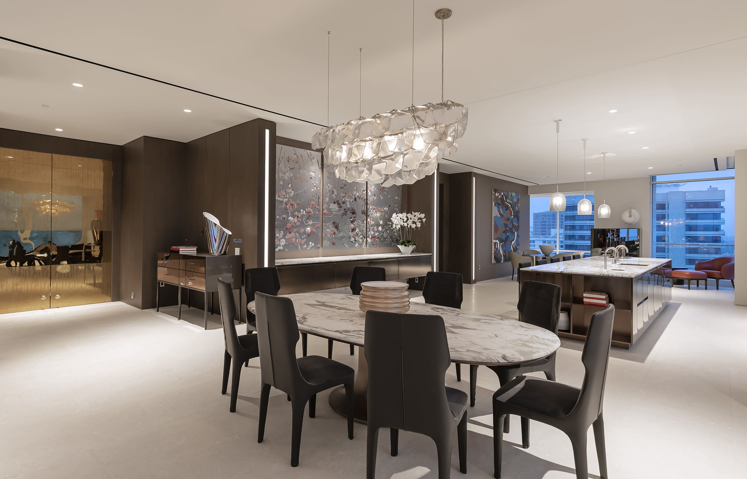 dining room inside penthouse 19 at beverly west