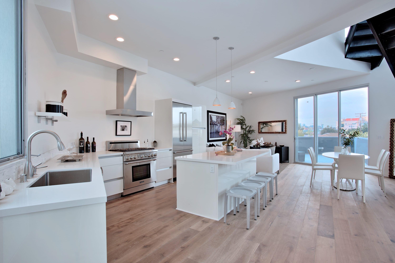 white kitchen in a luxury loft condo in los angeles 616 N Croft Ave #PH8