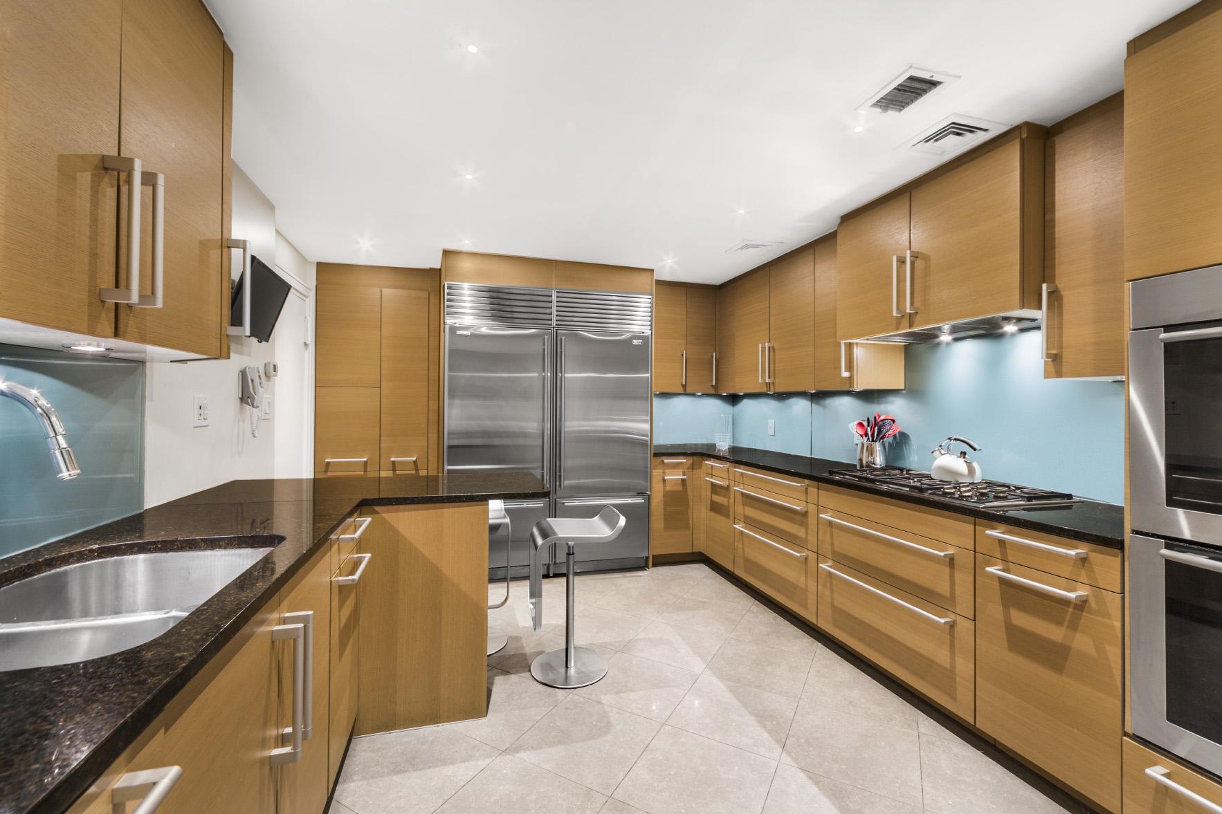 luxury kitchen with overswized refrigerator in manhattan