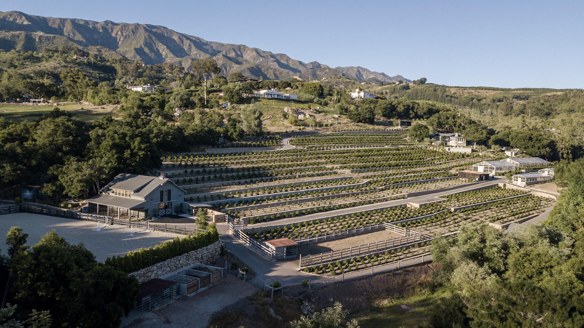 aerial view of valley heart ranch coffee farm montecito california