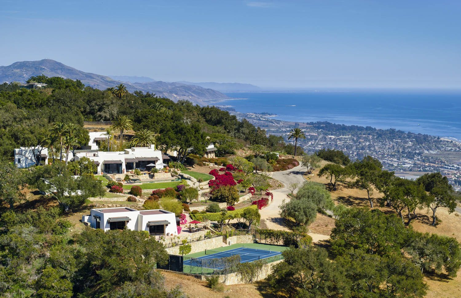 hilltop haven with modern adobe-style homes at 560 toro canyon park road in montecito