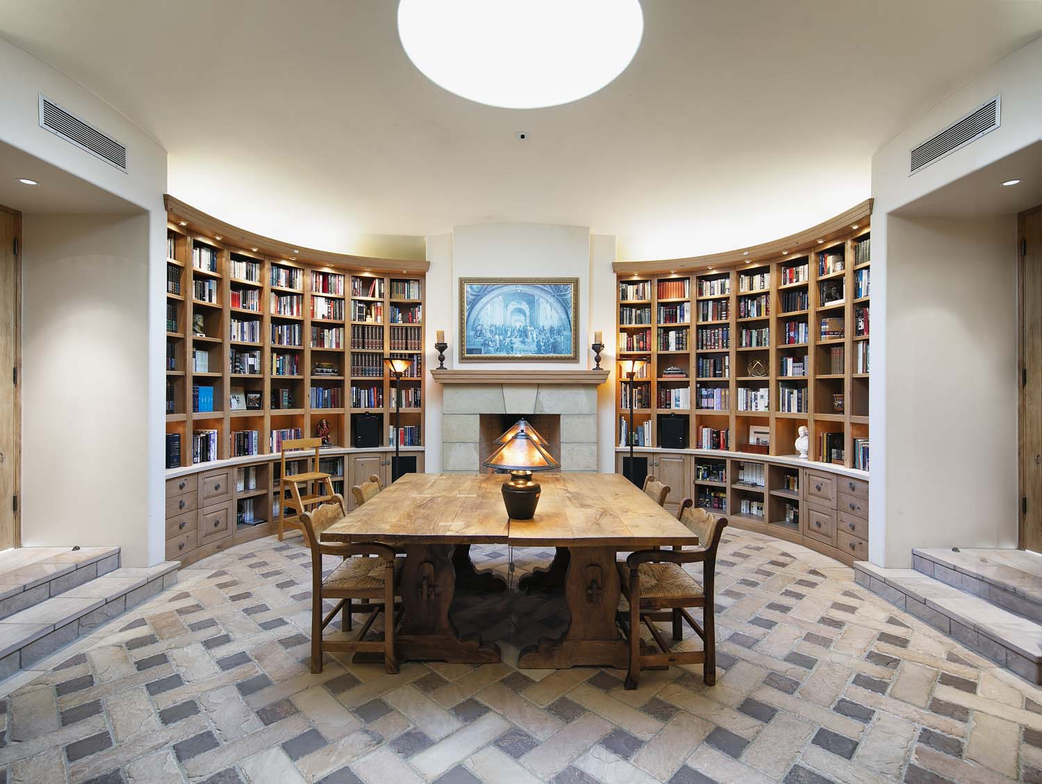 curved library bookcases at a montecito compound for sale
