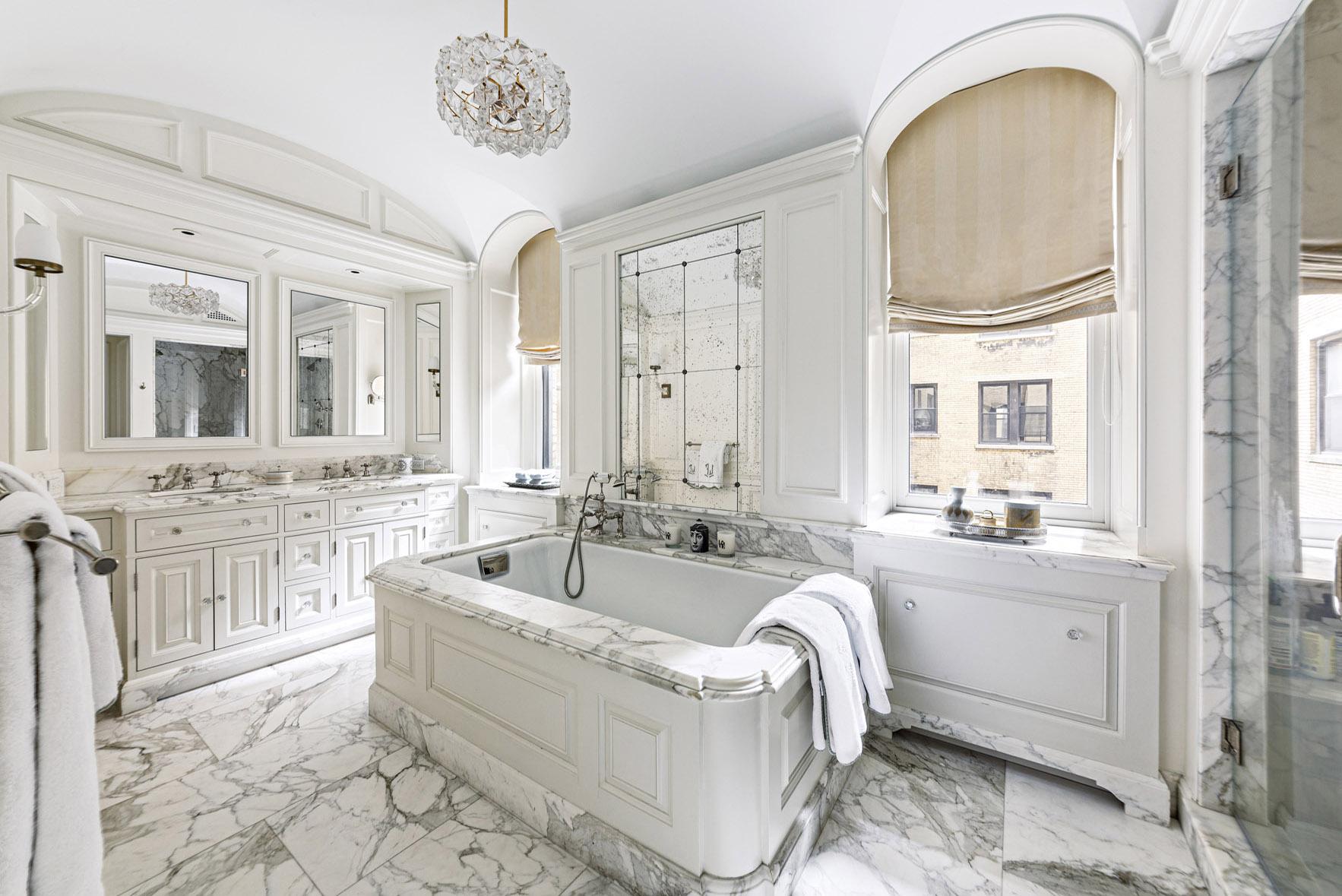 luxurious marble bathroom inside 255 West 84th Street, Apt 2AE in new york city