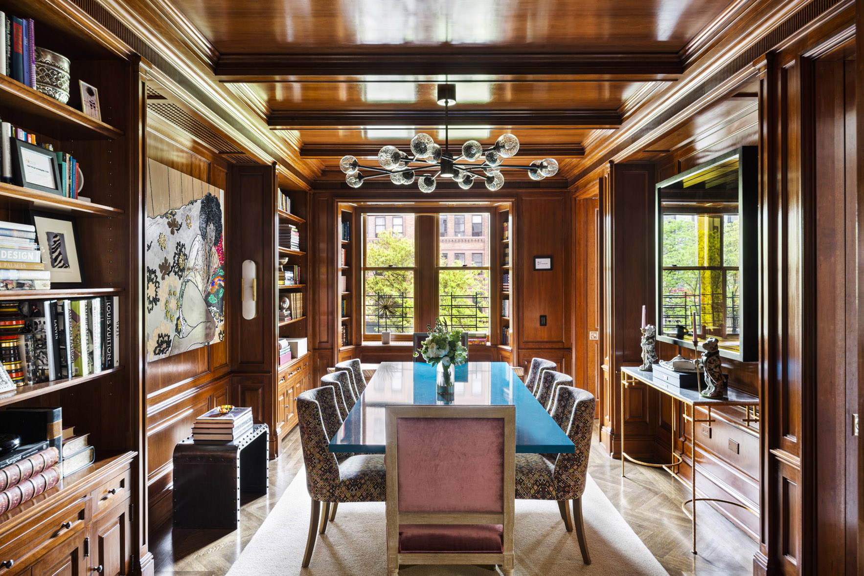 grand library/dining room inside a luxurious upper west side co-op in manhattan