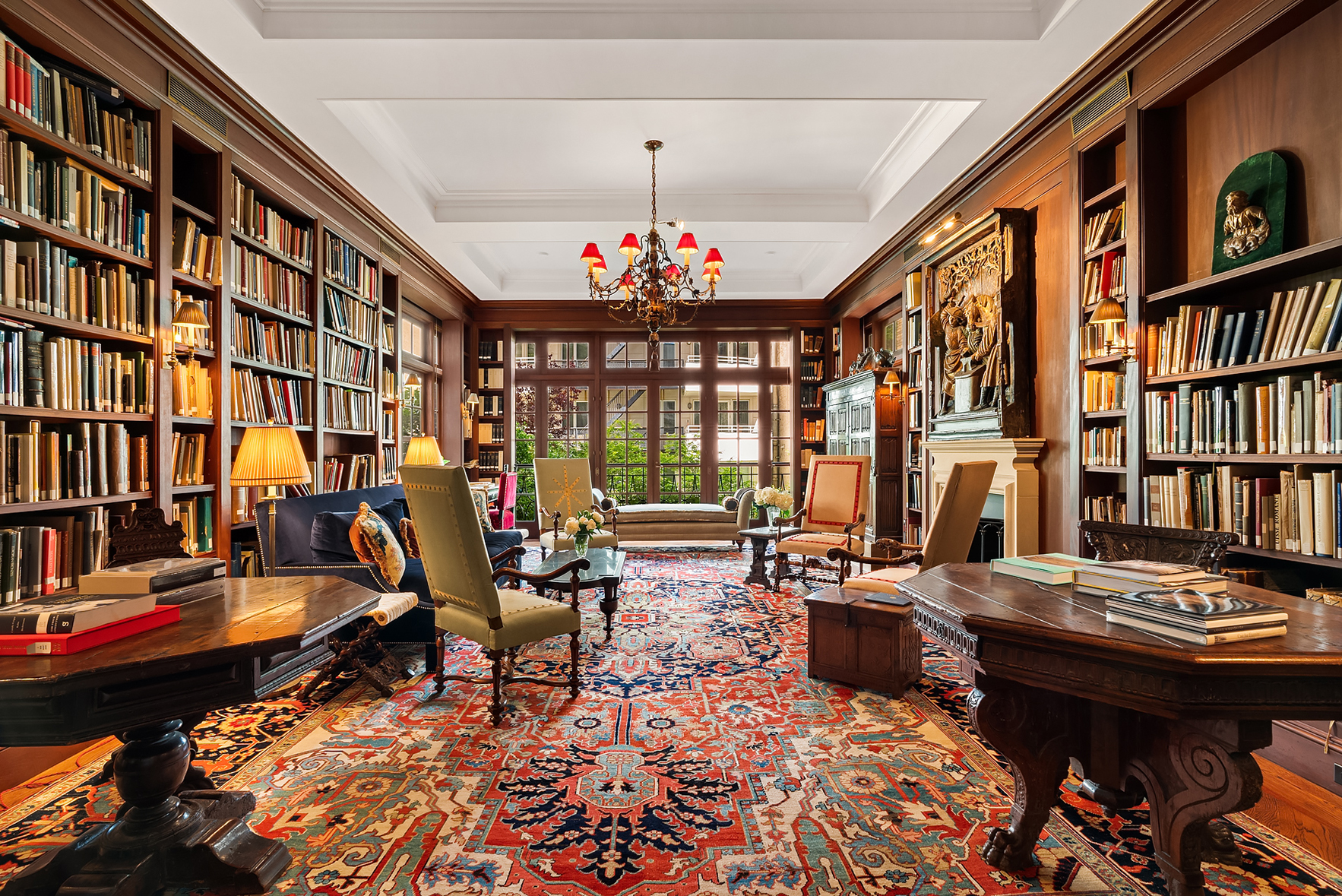 massive home library inside a manhattan townhouse for sale