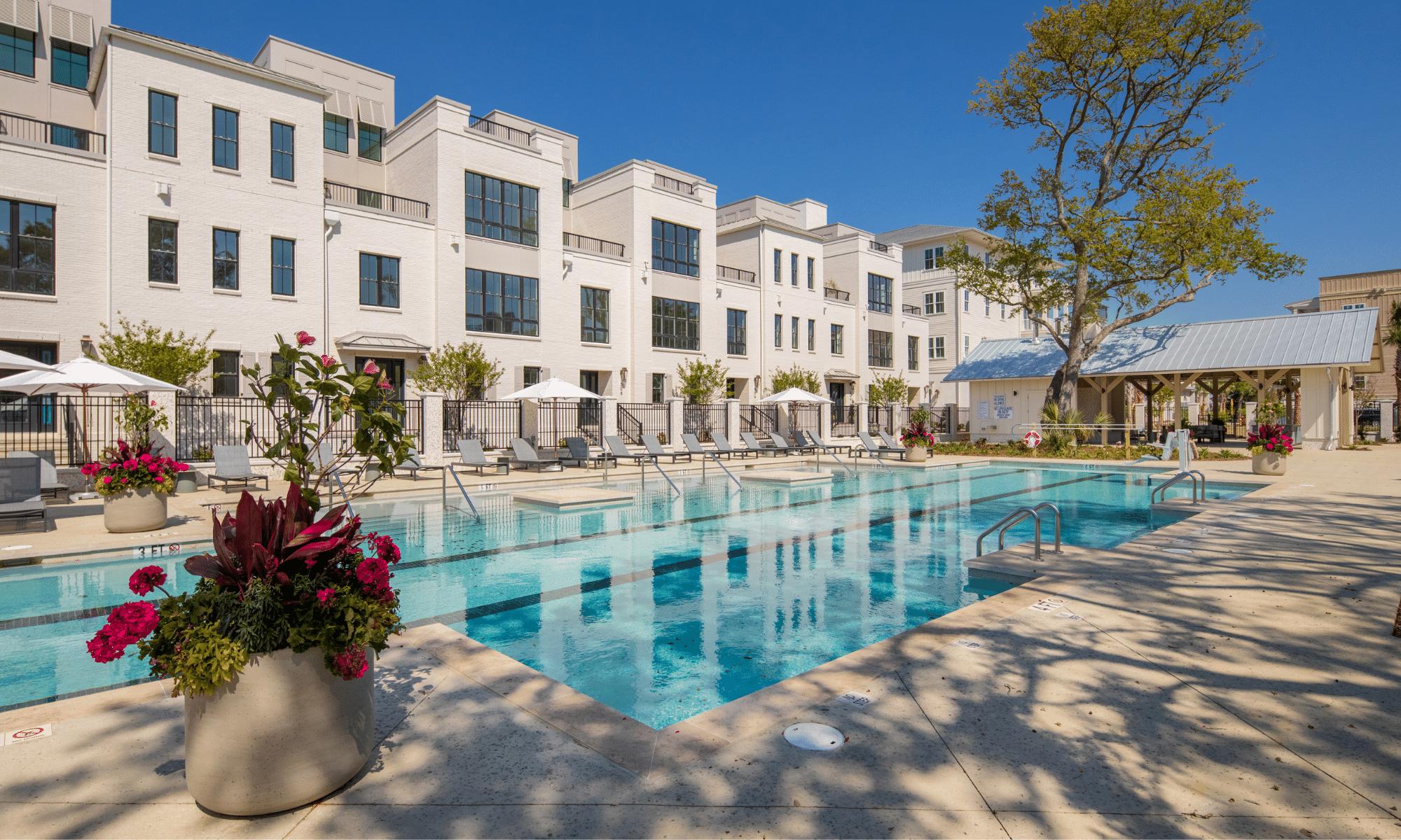 waterfront daniel island condominium overlooking community swimming pool