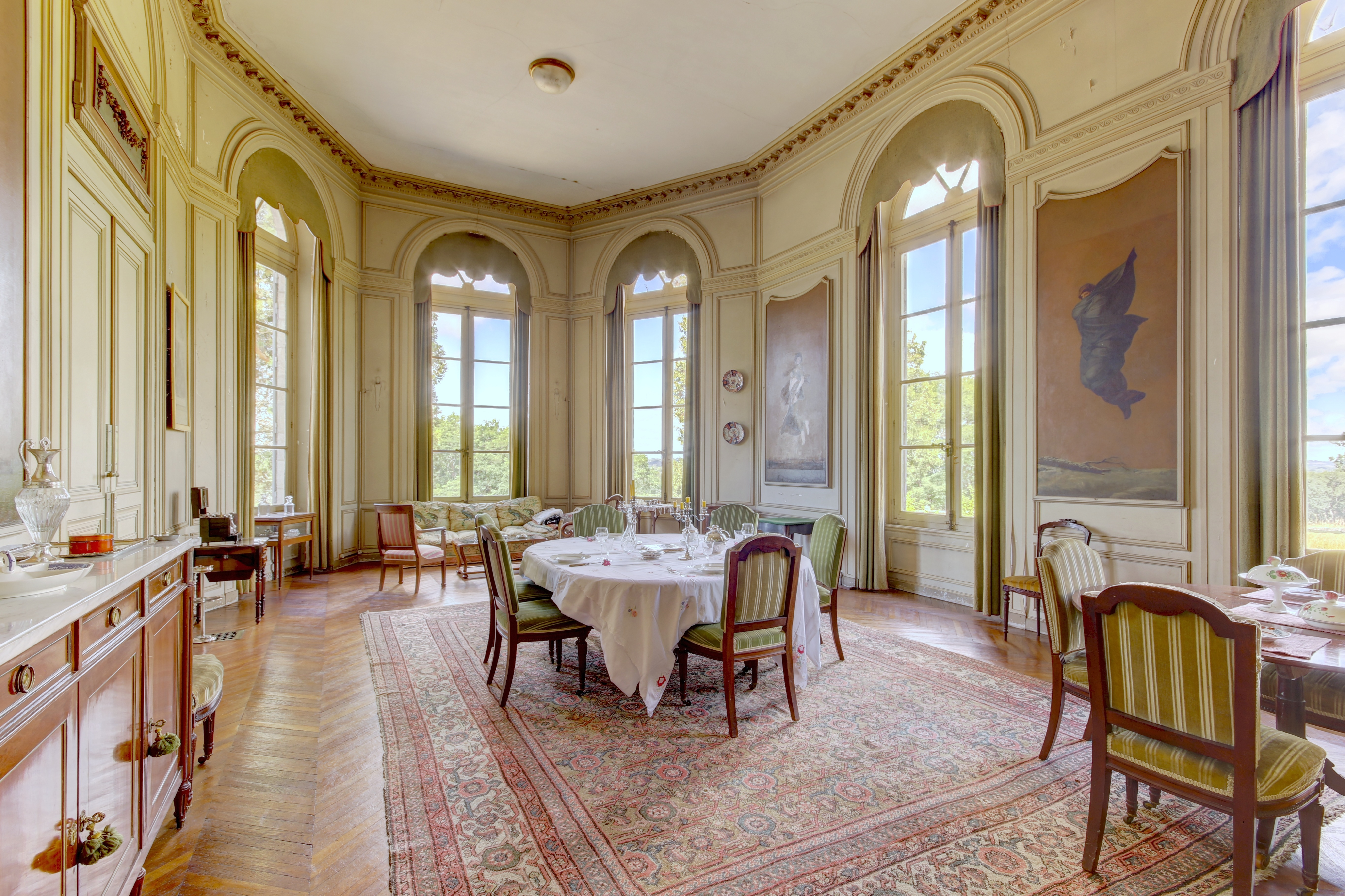 french chateau formal dining room with baroque influence