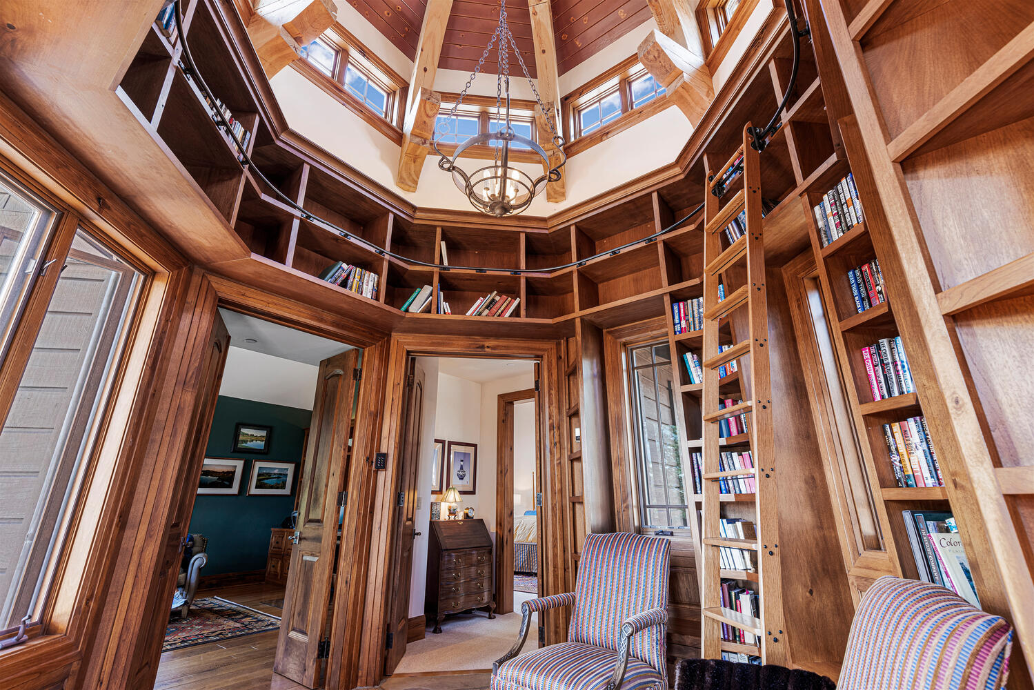 turret library in a luxury home in edwards, colorado