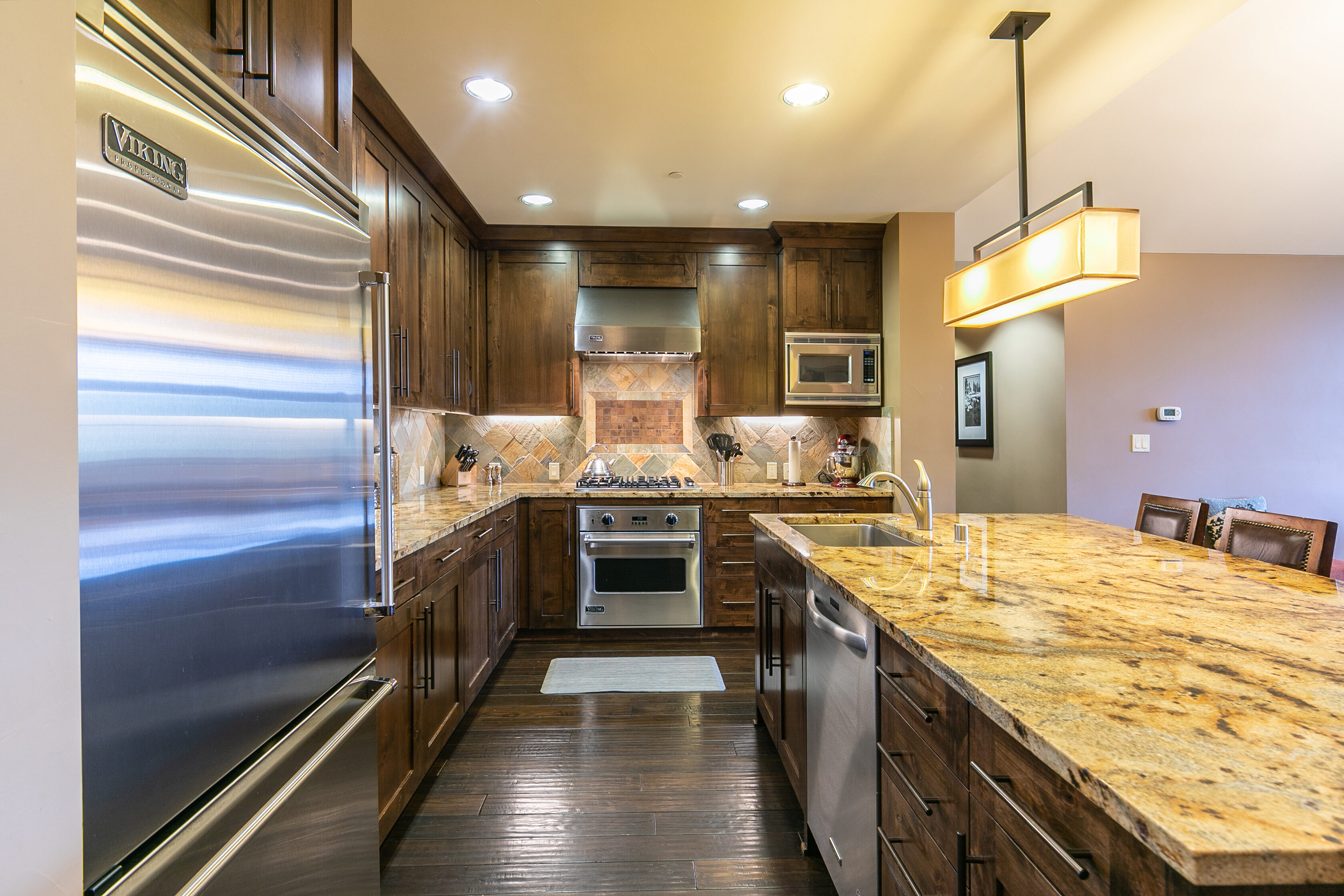 stainless steel appliances in a truckee penthouse