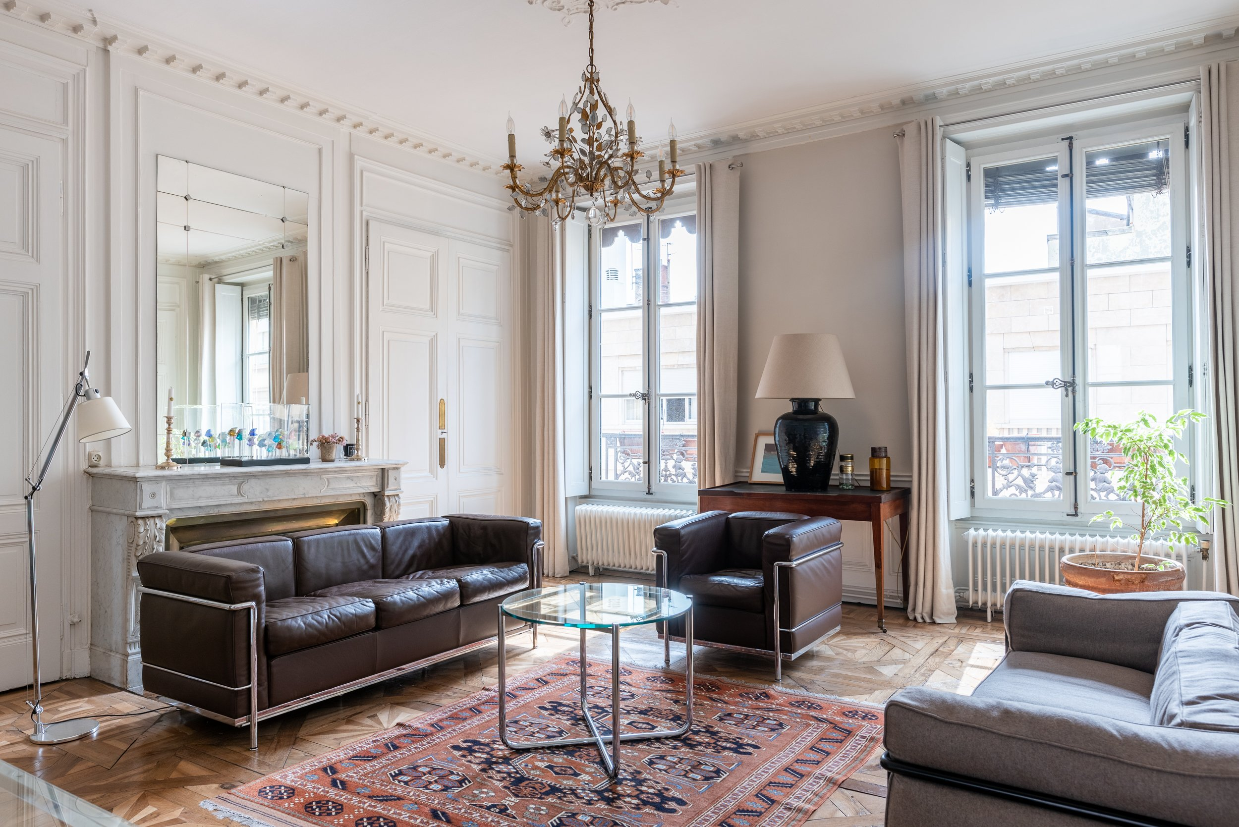 classic chandelier in a lyon, france, apartment