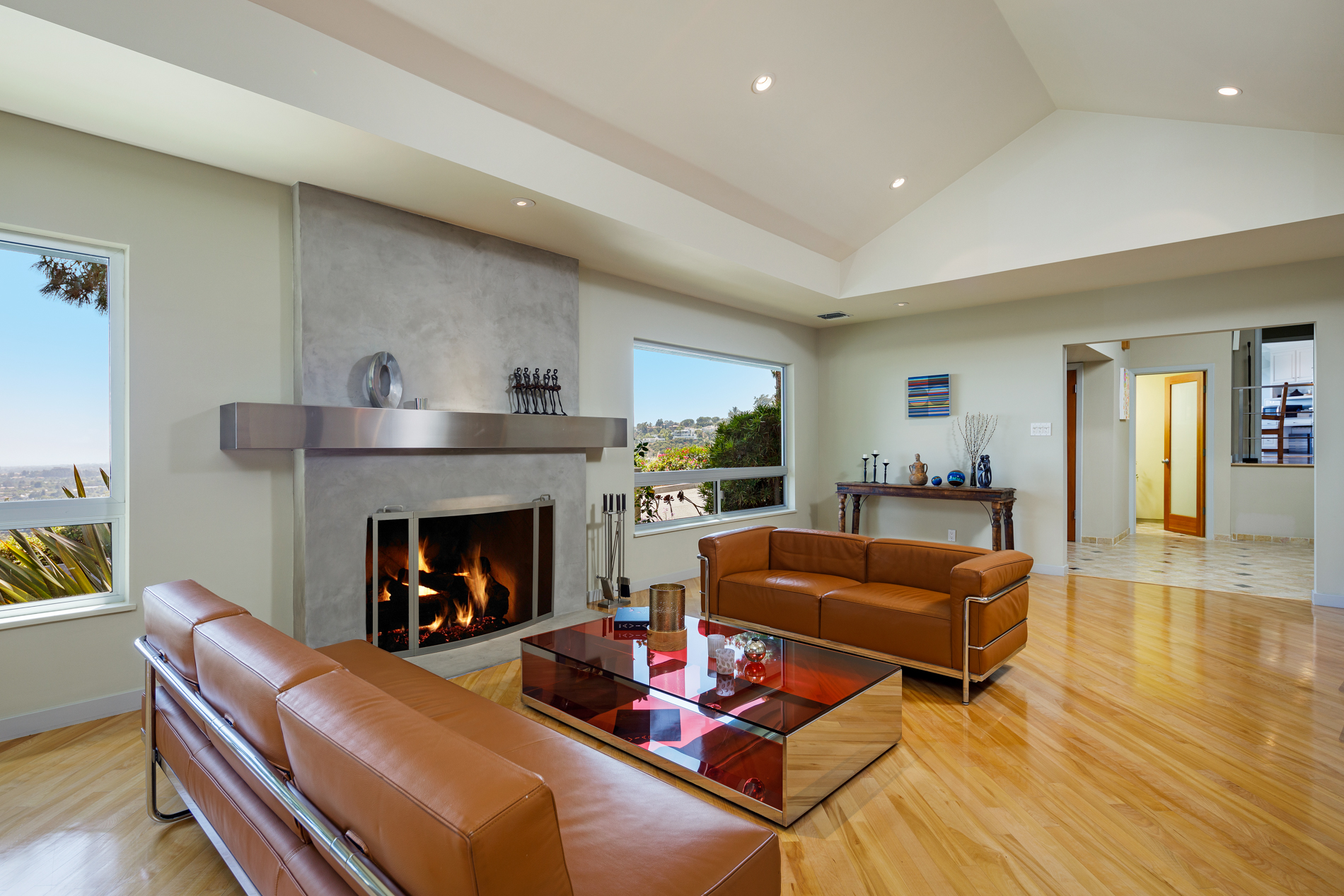 recessed lighting in the living room of a beverly hills luxury home