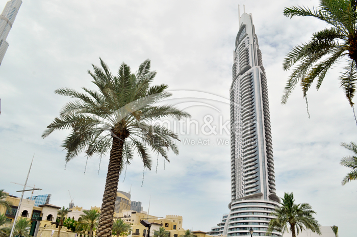 Burj Dubai Lake Hotel (The Address) - Apartment - Burj Khalifa and Fountain View - 1848 sq ft 2 Bed