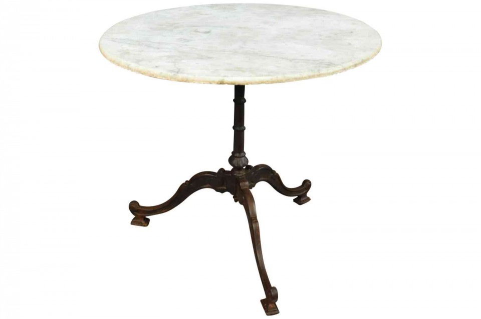 A Charming French Bistro Table From The South Of France. Wonderful Cast  Iron Base With Marble Top. A Perfect Addition To Any Garden Or Interior.