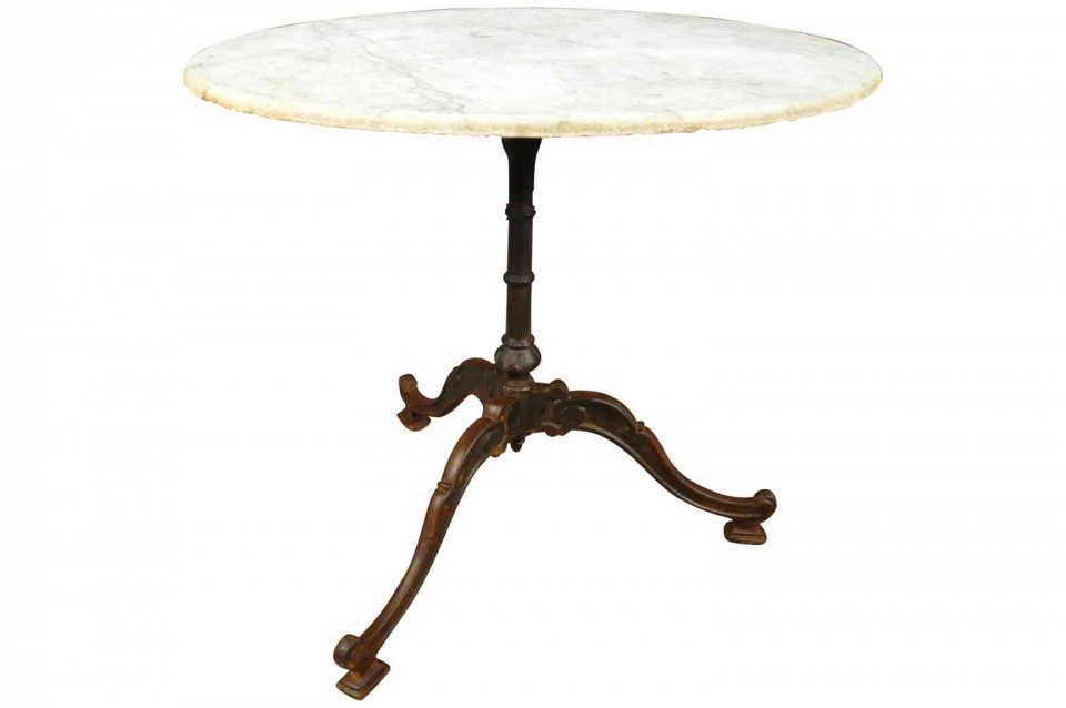 Attractive French Bistro Table Or Garden Table In Cast Iron And Marble